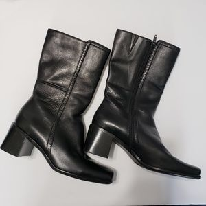 Easy Spirit Square Toe Black Leather Boots Size8.5